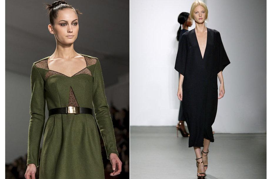 """Kairėje: dizainerės Nanette Lepore kolekcija """"Mercedes-Benz"""" madų savaitės metu, dešinėje: modelis su V formos iškirpte."""