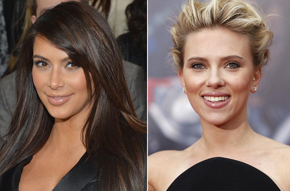 Kuri gražesnė: blondinė ar brunetė? Kairėje: Kim Kardashian, dešinėje: Scarlett Johansson.