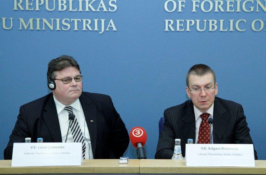 Linas Linkevičius su aukščiausiais Latvijos pareigūnais aptarė dvišalių santykių darbotvarkę