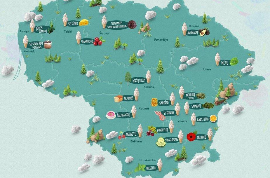 20 keisčiausių ledų Lietuvoje žemėlapis