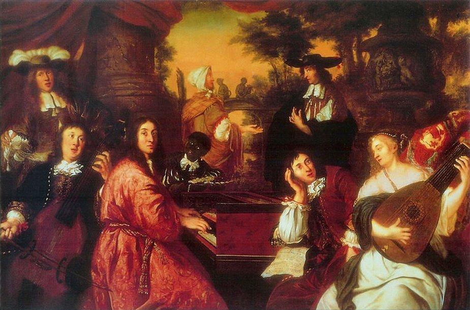 Johannes Voorhout – Namų muzikavimo scena. Prie klavesino – J.A.Reinckenas, galvą parėmęs sėdi D.Buxtehudė