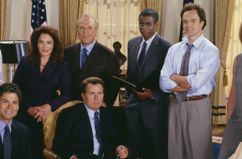 """Serialo """"Baltieji rūmai: valdžios troškulys"""" (""""West Wing"""") aktoriai"""