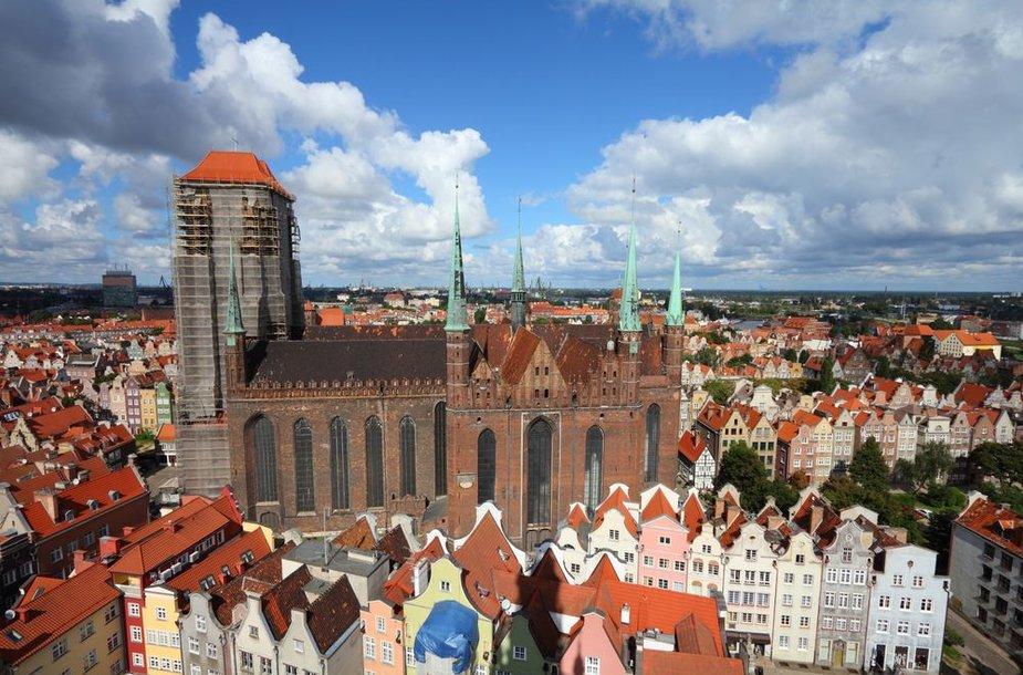 Gdansko puošmena – Marijos bažnyčia, pirmoji Europoje plytinė bažnyčia (statyta 1343-1502 m.).