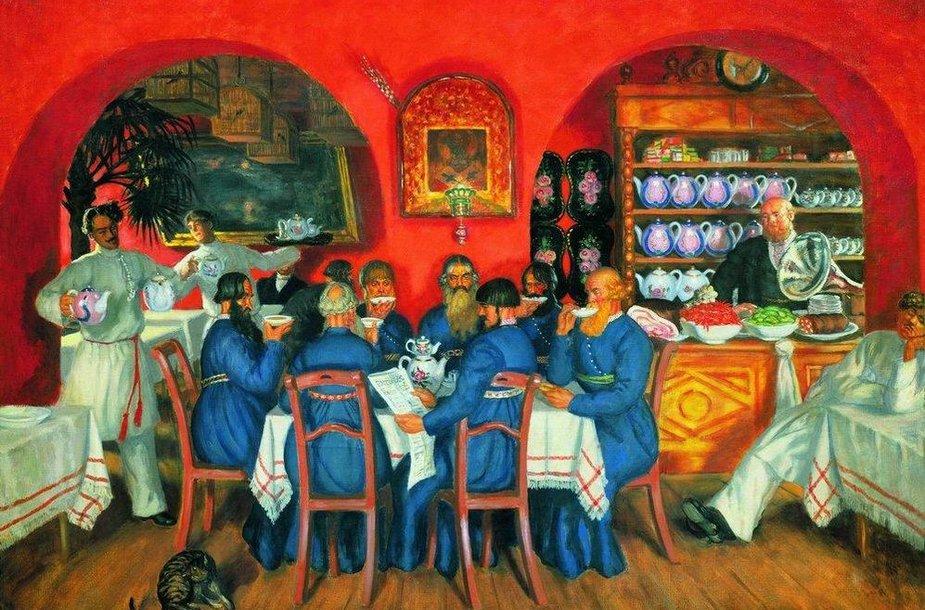 """Šnipų veikloje tuo metu itin svarbų vaidmenį atliko pirkliai, kurie ir prekiavo, ir skleidė svarbias žinias. B.M.Kustodijevo paveikslas """"Maskvos smuklė"""". 1916 m."""