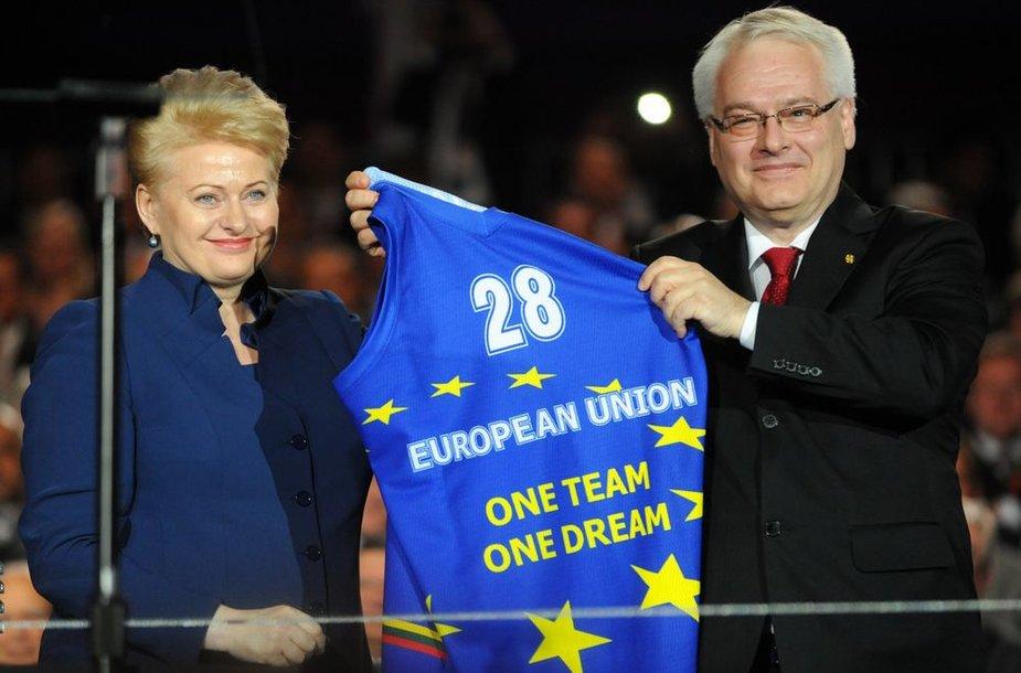 Lietuvos prezidentė Dalia Grybauskaitė ir Kroatijos prezidentas Ivo Josipovičius