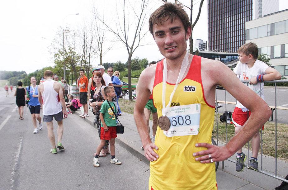 5 km bėgimo nugalėtojas Paulius Biliūnas