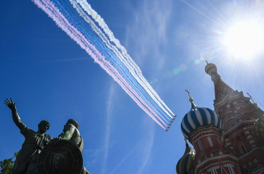 Maskvos Raudonojoje aikštėje prasidėjo Pergalės dienos paradas