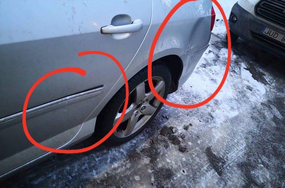 Vilniuje apgadintas degalinėje stovėjęs automobilis