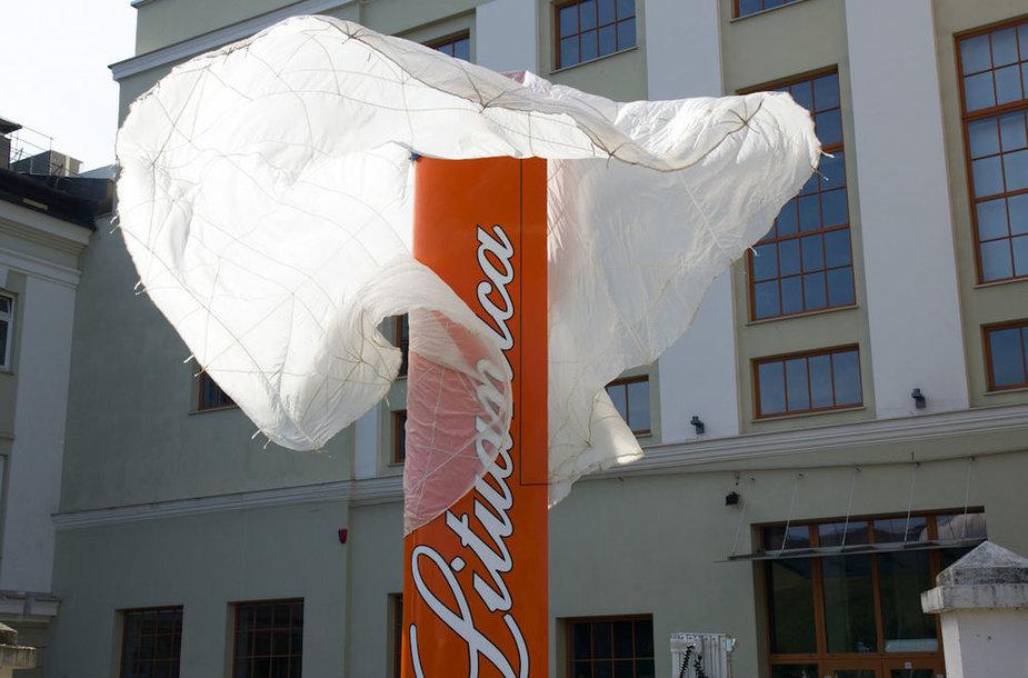 """Šalia Energetikos ir technikos muziejaus nuo vėjo judės """"Lituanicos sparnas"""""""
