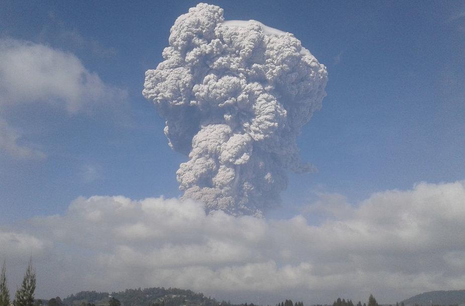 Indonezijos Sinabungo ugnikalnis išspjovė į 5 km aukštį pakilusį pelenų stulpą