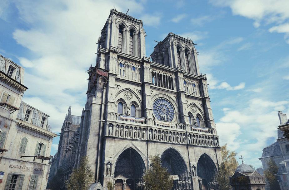 """Žaidime """"Assassin's Creed: Unity"""" atvaizduota Paryžiaus Dievo motinos katedra"""