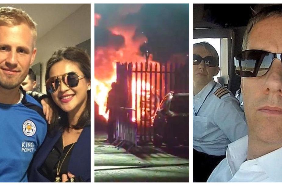 Lesteryje dužusiu sraigtasparniu skrido grožio karalienė Nusara Suknamai (kairėje), pilotas Ericas Swafferis ir jo draugė, taip pat pilotė Izabela Roza Lecowicz (dešinėje).
