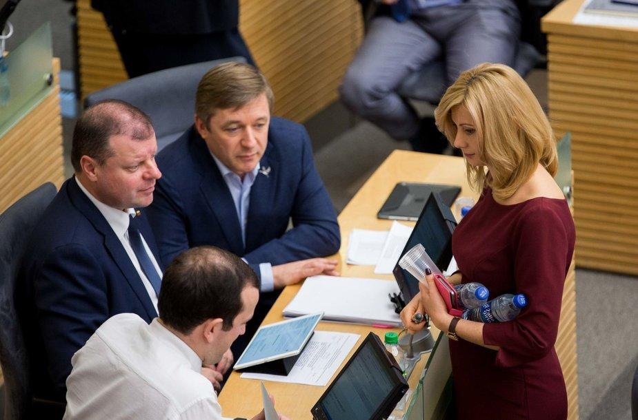 Saulius Skvernelis, Ramūnas Karbauskis, Rita Tamašunienė