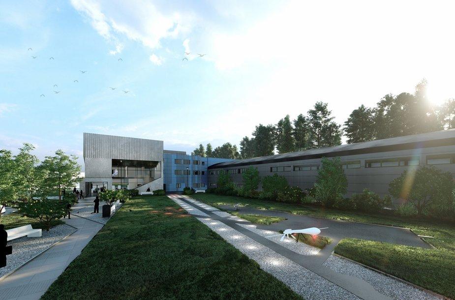 Naujo Antano Gustaičio aviacijos instituto pastato vizualizacija