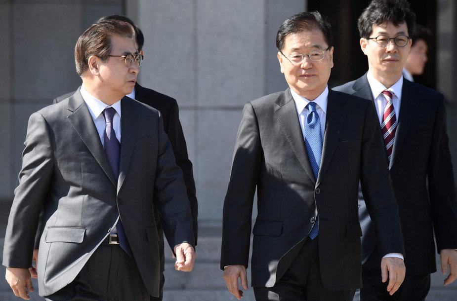 Pietų Korėjos žvalgybos vadas Suh Hoonas ir patarėjas nacionalinio saugumo klausimais Chung Eui-yongas