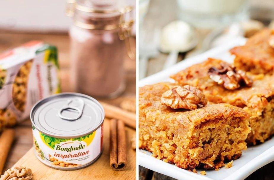 Veganiškas pyragas su avinžirniais, cinamonu ir graikiškas riešutais