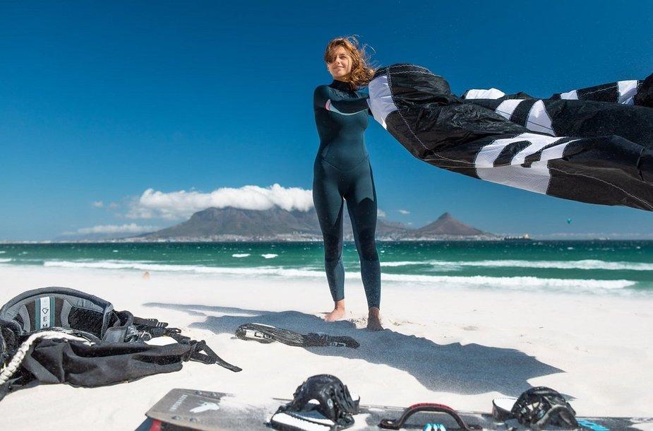 Gabrielė Pioraite at a beach in the Sourh Africa