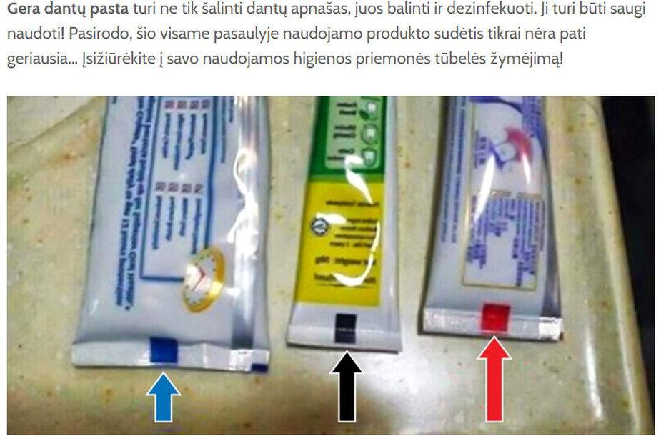Spalvotos juostelės ant dantų pastos tūbelių