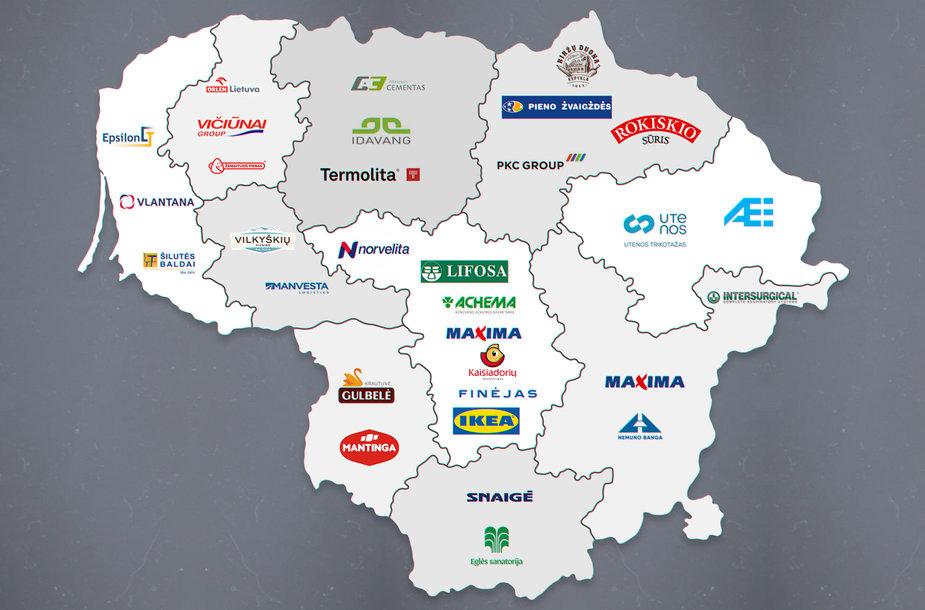 Didžiausi darbdaviai pagal savivaldybes, žemėlapis