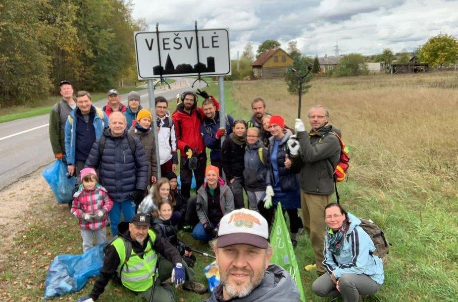 """Žygio """"Už švarią Lietuvą!"""" ruožas: Smalininkai – Viešvilė (16 km)"""