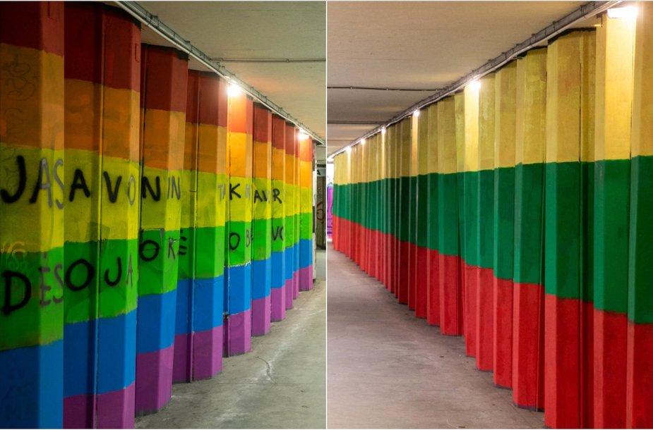 Vaivorykštės neliko – ji uždažyta Lietuvos vėliavos spalvomis