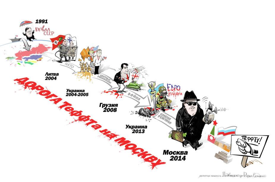 Karikatūra, įteikta Johnui Tefftui