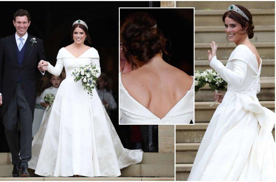 Princesės Eugenie suknelė specialiai buvo sukurta tokia, kad neslėptų didžiulio rando ant nugaros