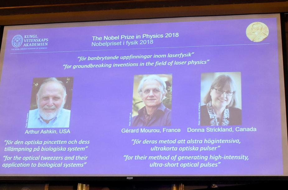 2018 m. Nobelio fizikos premijos laureatai Arthuras Ashkinas, Gerardas Mourou Donna Strickland