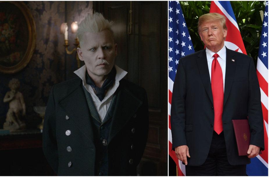 """Johnny Deppas filme """"Fantastiniai gyvūnai: Grindelvaldo nusikaltimai"""" ir Donaldas Trumpas"""