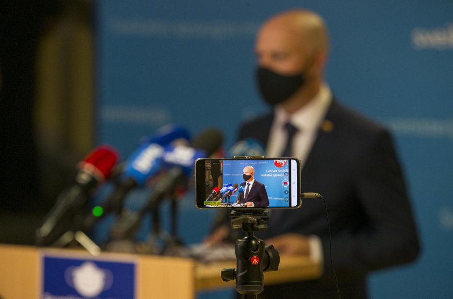 Aurelijaus Verygos spaudos konferencijoje žiniasklaidai