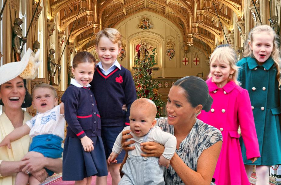 Kate Middleton, princas Louisas, princesė Charlotte, princas George'as, Archie, Meghan Markle, Isla Phillips ir Savannah Phillips