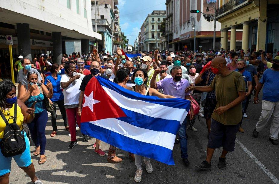 Protestuotojai Havanoje