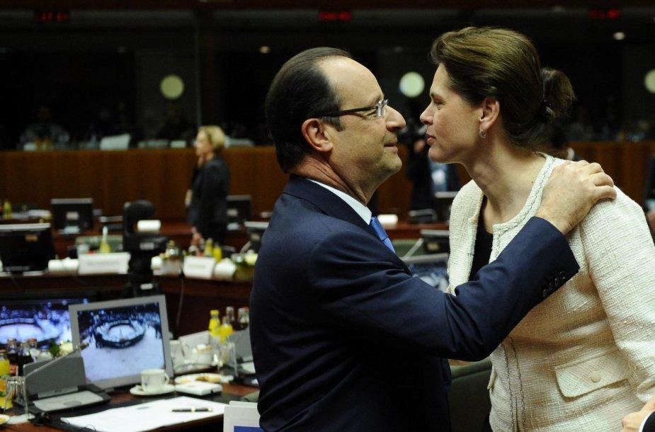 Prancūzijos prezidentas Francois Hollande'as ir Slovėnijos ministrė pirmininkė Alenka Bratusek