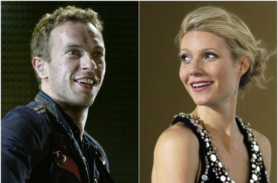 """A combination photo of singer Chris Martin of Coldplay performing during a concert as part of their """"Viva La Vida"""" tour in Barcelona September 4, 2009 and actress Gwyneth Paltrow posing during the premiere of her film """"Iron Man"""" in Berlin April 22, 2008. Actress Paltrow and husband Martin, the lead"""