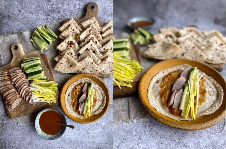 Blyneliai su Pekino antimi ir daržovėmis
