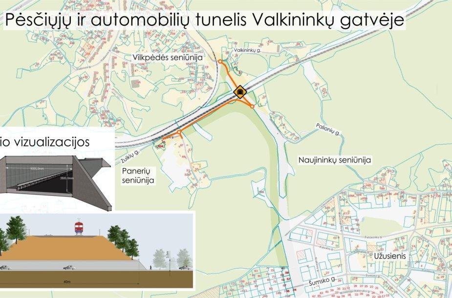 Tunelio po geležinkeliu Valkininkų gatvėje, Vilniuje, vizualizacija