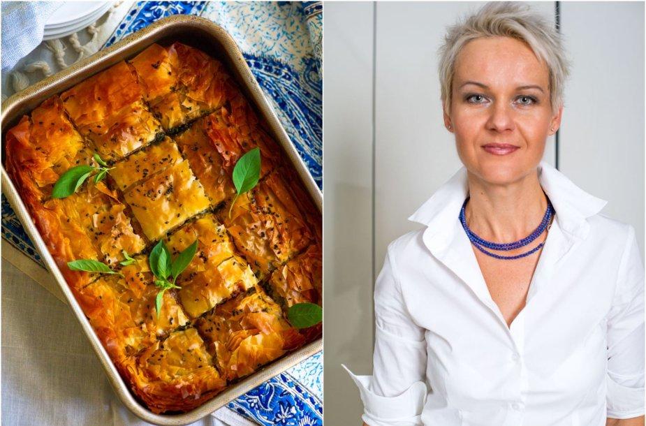 Nida Degutienė ir jos keptas graikiškas špinatų ir fetos pyragas