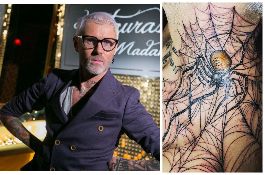 Liutauras Salasevičius ir jo naujoji tatuiruotė ant kaklo
