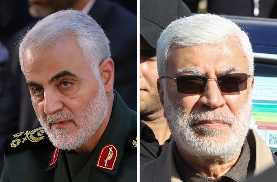 """Qasemas Soleimani ir """"Hashed al Shaabi"""" sukarintų pajėgų vado pavaduotojas Abu Mahdi al Muhandisas"""