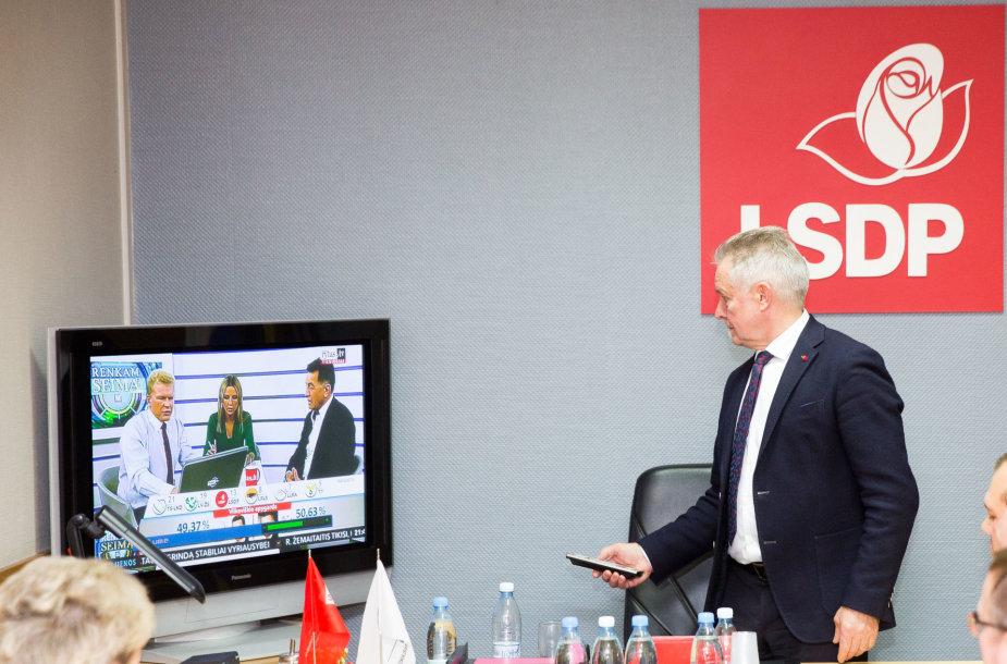 Lietuvos socialdemokratų partija laukia Seimo rinkimų rezultatų