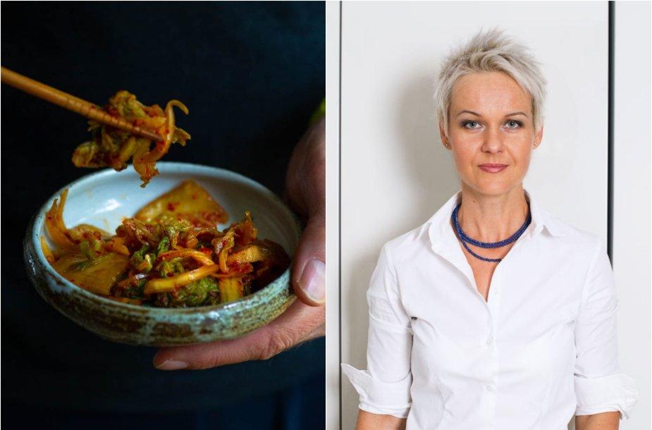 Nida Degutienė ir jos ruoštos kopūstų ir ridikų kimči salotos
