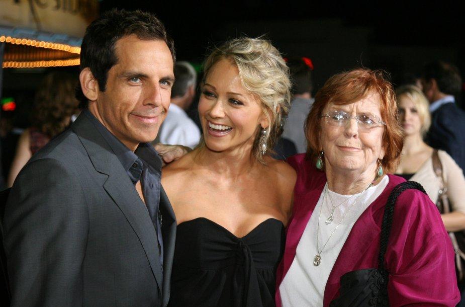 Benas Stilleris su žmona Christine Taylor ir motina Anne Meara (2007 m.)