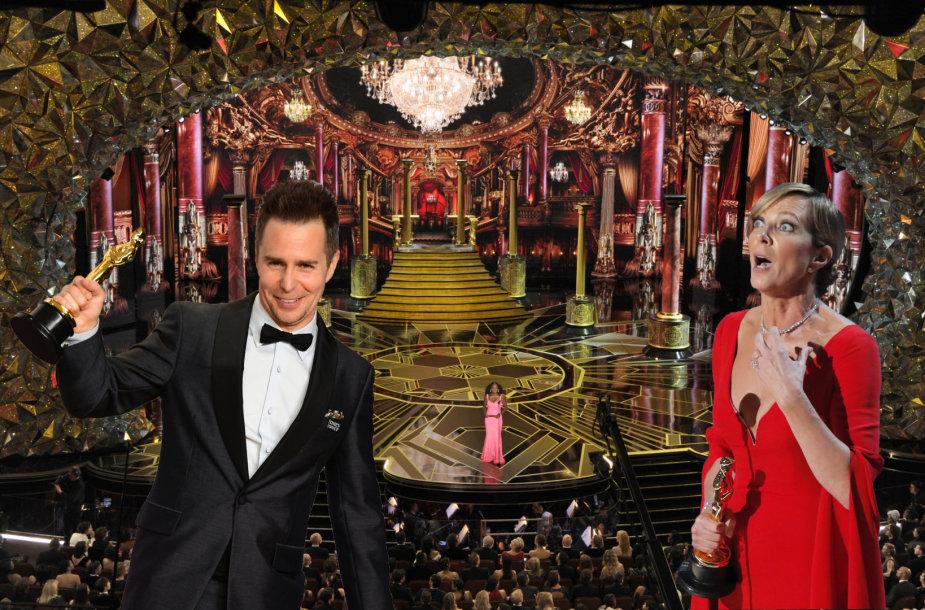 """""""Oskarų"""" apdovanojimų ceremonijoje geriausiais antraplaniais aktoriais paskelbti Samas Rockwellas ir Allison Janney"""