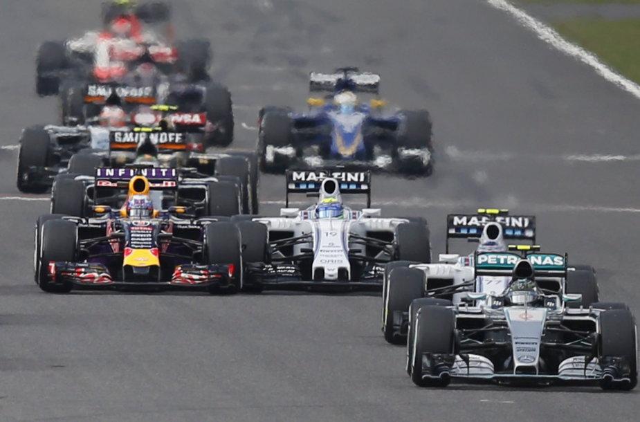 Felipe Massa ir Danielis Ricciardo starte patyrė avariją