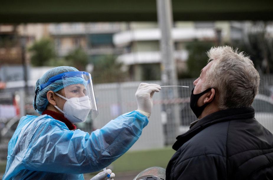 Koronaviruso testas Atėnuose