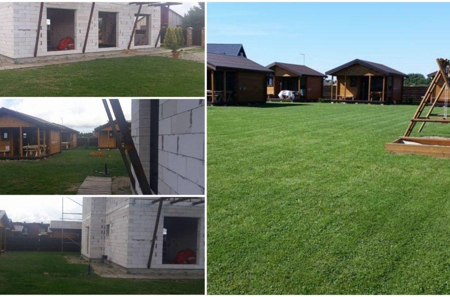 Į Šventąją atvykę poilsiautojai nustebo išvydę namelius šalia statybvietės (nuotraukos kairėje). Internete skelbiamose nuotraukose – nė ženklo, kad šalia statomas namas.