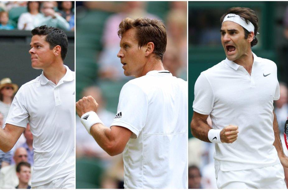 Milošas Raoničius, Tomašas Berdychas ir Rogeris Federeris