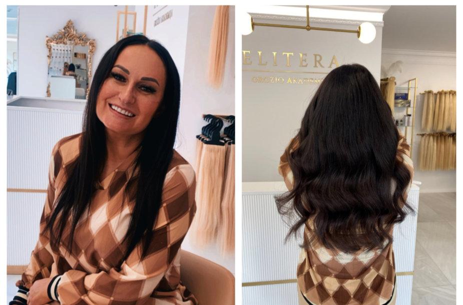 Inga Budrienė prieš plaukų priauginimo procedūrą ir po