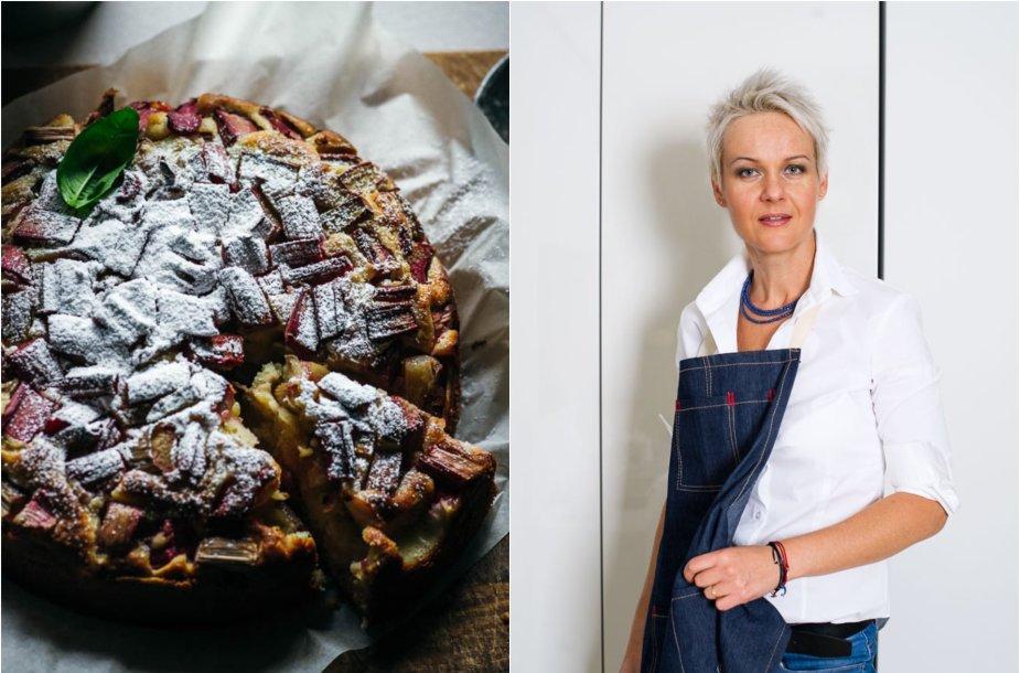Nida Degutienė ir jos keptas jogurtinis rabarbarų pyragas