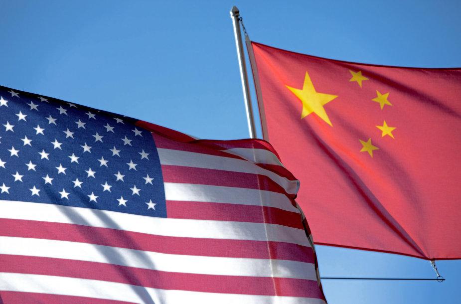 JAV ir Kinijos vėliavos